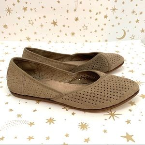 Toms | Jutti Perforated Suede Pointed Toe Flats 7